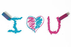 Azzurro un cuore dentellare di doodle Fotografia Stock