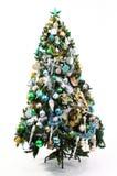 Azzurro, verde ed oro dell'albero di Natale Fotografia Stock