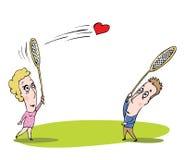 Bádminton del día de tarjeta del día de San Valentín stock de ilustración