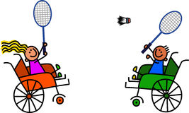 Bádminton discapacitado del juego de los niños stock de ilustración