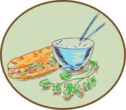 Bánh Mì Sandwich and Rice Bowl Drawing. Drawing sketch style illustration of a Bahn mi Vietnamese sandwich with meat and bowl of rice and Stock Photo