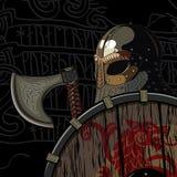 Bárbaro del guerrero, Viking Berserker con el hacha y el escudo ilustración del vector