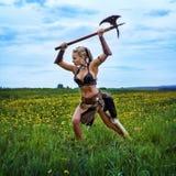 Bárbaro femenino del guerrero antiguo Fotografía de archivo libre de regalías