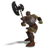 Bárbaro masculino de Orc da fantasia com machado gigante. 3D Fotografia de Stock Royalty Free