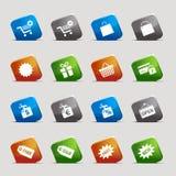Básico - iconos de las compras Imagen de archivo libre de regalías