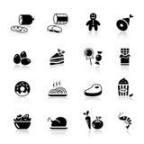 Básico - iconos del alimento stock de ilustración