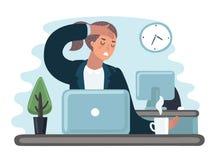 Bâillement occupé triste fatigué de caractère de femme d'employé de bureau Illustration plate de bande dessinée de vecteur illustration libre de droits