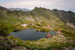 Bâlea Lake in the Romanian mountains.  stock images