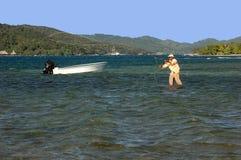 Bâti hondurien de guide de pêche photo stock