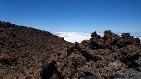 Bâti Teide au-dessus des nuages Images libres de droits