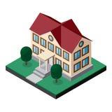 Bâtiment à deux étages isométrique avec la pelouse et les arbres Photos libres de droits
