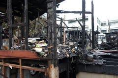 Bâtiment abandonné après un feu Photos libres de droits