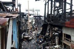 Bâtiment abandonné après un feu Images libres de droits