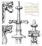 Bâtiment antique décoratif de détail éléments, chaux ou ordres ornementaux classiques architecturaux main gravée illustration stock