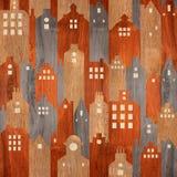 Bâtiment architectural abstrait - fond sans couture - texture en bois Images stock