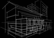 Bâtiment architectural d'abrégé sur concept de croquis sur le fond noir Image libre de droits