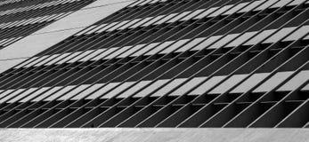 Bâtiment avec des formes rigides sur la gamme de gris avec un oiseau sur le fond Images libres de droits