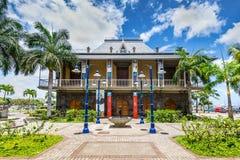 Bâtiment bleu de musée de penny à Port-Louis, Îles Maurice Photos stock