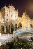 Bâtiment central de Plaza de Espana dans la nuit Image libre de droits