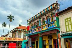 Bâtiment coloré dans peu d'Inde, Singapour Photographie stock libre de droits