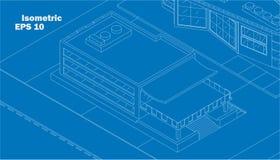 Bâtiment commercial isométrique de vecteur illustration libre de droits