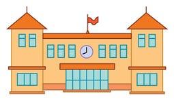 Bâtiment d'école ou d'université Concept plat d'éducation de vecteur cartoon Photos stock