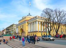 Bâtiment d'Amirauté principal sur le remblai d'Amirauté, St Petersburg, Russie Image libre de droits