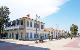 Bâtiment d'Art Gallery municipal à côté de remblai de Phinikoudes photo libre de droits