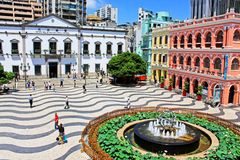 Bâtiment d'héritage de place de Senado, Macao, Chine images stock