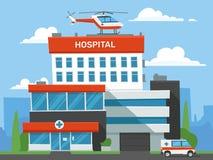Bâtiment d'hôpital de bande dessinée Clinique de secours, hélicoptère médical urgent d'aide et voiture d'ambulance Vecteur centra illustration libre de droits