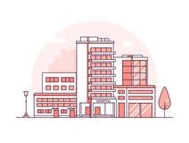 Bâtiment d'hôpital - ligne mince moderne illustration de vecteur de style de conception illustration libre de droits