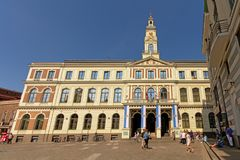 Bâtiment d'hôtel de ville de Riga, capitale de la Lettonie photos stock