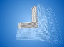 Bâtiment d'hôpital de Wireframe illustration stock