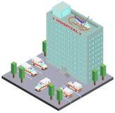 Bâtiment d'hôpital, voitures d'ambulance et hélicoptère Photographie stock libre de droits
