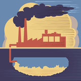 Bâtiment d'usine - air et pollution du sol illustration de vecteur