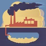 Bâtiment d'usine - air et pollution du sol Image libre de droits