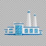 Bâtiment d'usine dans le style plat d'isolement sur l'illustration transparente de vecteur de fond La production d'usine et illustration libre de droits