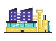 Bâtiment d'usine Illustration plate de vecteur Style de constructivisme illustration de vecteur