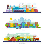 Bâtiment d'usine, paysage lurban, transport, un village de vert d'eco Photos libres de droits