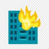 Bâtiment dans l'icône du feu, style plat illustration libre de droits