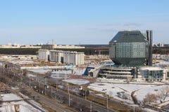 Bâtiment de Bibliothèque nationale du Belarus à Minsk Images libres de droits