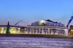 Bâtiment de bourse des valeurs d'anciennes actions d'ornement de Noël, St Petersburg Photos libres de droits