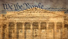 Bâtiment de capitol des Etats-Unis avec la déclaration célèbre photos stock