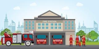 Bâtiment de caserne de pompiers avec le camion de pompe à incendie de véhicule de secours illustration stock