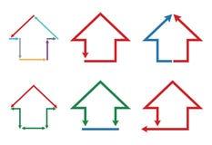 Bâtiment de couleur et ensemble d'icône de maison Photo libre de droits