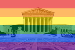 Bâtiment de court suprême des USA d'arc-en-ciel Photographie stock libre de droits