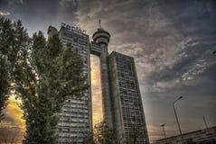 Bâtiment de Genex sur nouveau Belgrade images libres de droits