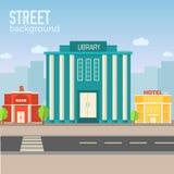 Bâtiment de la bibliothèque dans l'espace de ville avec la route sur l'appartement Image stock