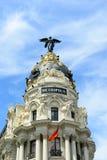 Bâtiment de métropole, Madrid, Espagne images libres de droits