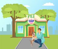 Bâtiment de magasin de bêtes en affiche verte de vecteur de parc illustration libre de droits